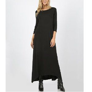NWT Black Crewneck 3/4 Sleeve Shark-Bite Hem Maxi